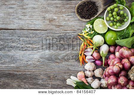Ingredient On Grain Wood Top View