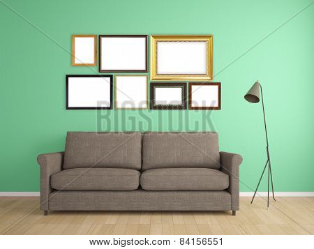 Picture Frame On Wall And Sofa Interior Furniture Design