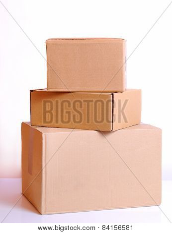 Three Cardboard Boxes Isolated