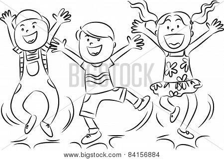vector drawing happy kids jumping