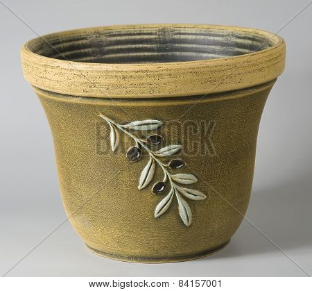 Rustic Ceramic Flowerpot In Ochre With Stylized Decorative Olives Ornaments