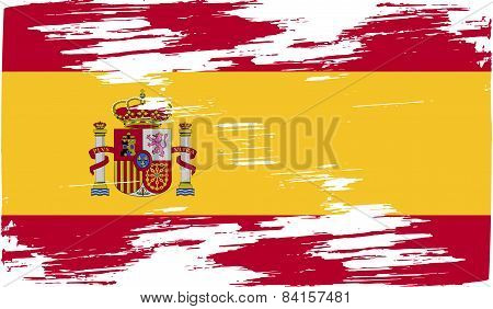 Flag Of Spain With Old Texture. Vector