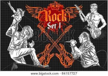 Rock-stars on rock concert - vector set