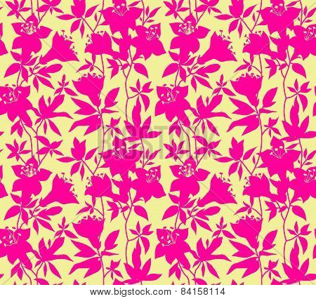 Seamless vector vintage pattern with azalea flowers.