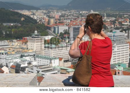 poster of Woman looking on a city
