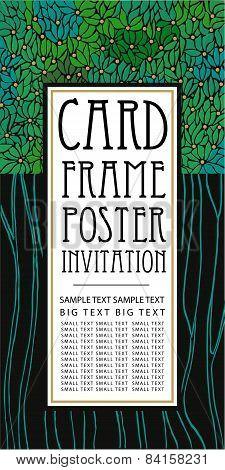 Vertical vector card with emerald laurels leaf.