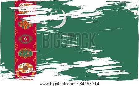 Flag Of Turkmenistan With Old Texture. Vector