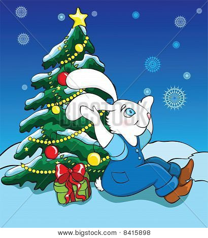 Rabbit And New Year Tree