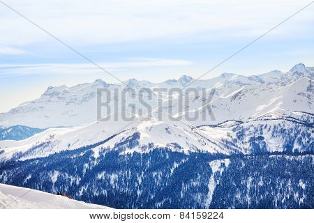 Winter landscape of magnificent Caucasus mountains