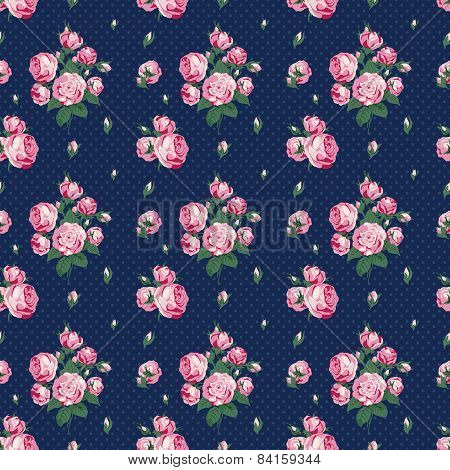 Dark Blue Seamless Pattern In Peas With Roses