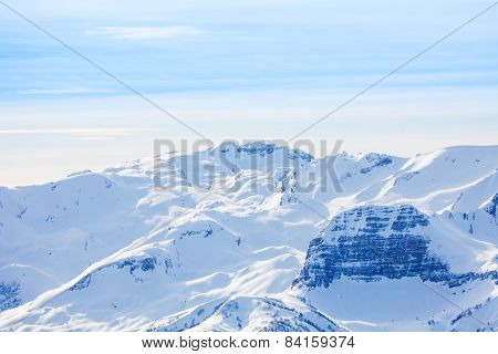 Winter landscape view of Caucasus mountains