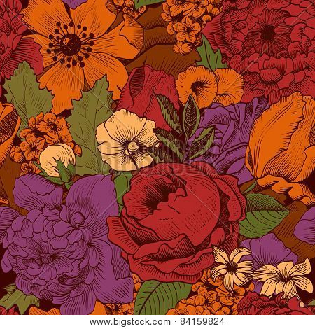 Seamless Vintage Pattern With Lush Colorful Flowers