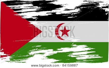 Flag Of Western Sahara With Old Texture. Vector