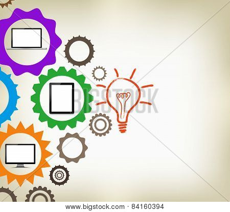 Infographic design template with gear chain background