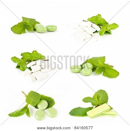 Set Of Strawberry Chewing Gum On White Background