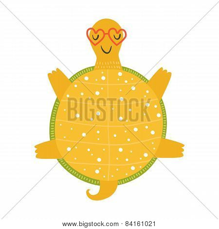 Vector tortoise relaxing in sunglasses on sun