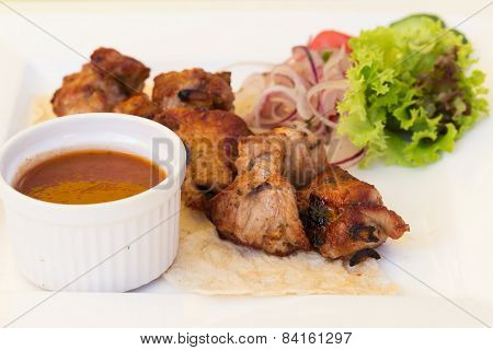 Pork Bbq Barbecue On A Plate