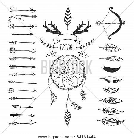 Vector Tribal design elements, aztec symbols, arrows
