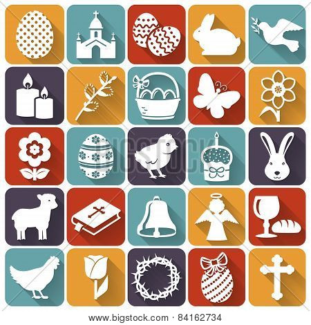 Easter Icons. Set Of Flat Vector Symbols.