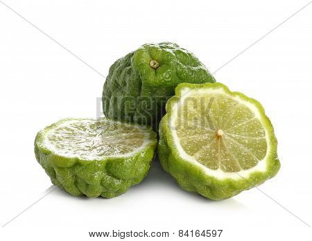 Citrus Hystrix, Bergamot, Kaffir Lime, Leech Lime Isolated On White