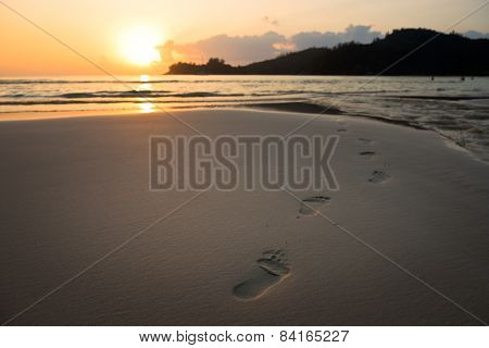 Human Footprints On Beach Sand