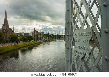 Inverness View From Footbridge On Ness River, Cloudy Day Scotland