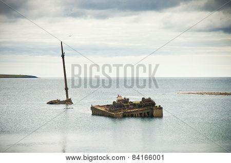 Old Rusted Sunken Boat Orkney Island, Scapa Flow, Scotland