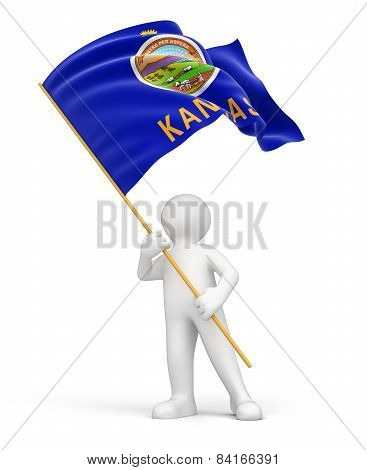 Man and flag of Kansas (clipping path included)