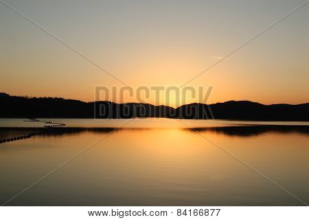 Blue And Orange Gradation Of Sunset On The Jinyang Lake