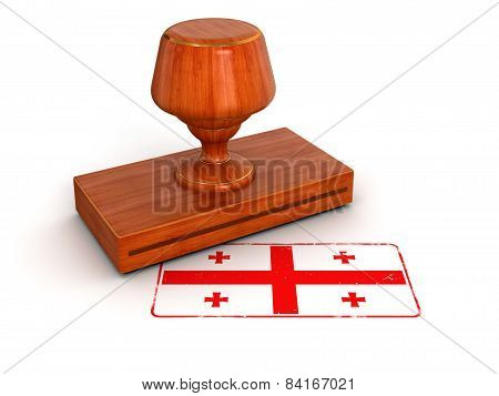 Rubber Stamp Georgian flag (clipping path included)
