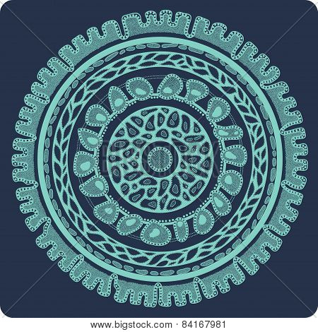 Ornamental Lace In Circle, Background With Many Details, Seamless Texture, Looks Like Crocheting Han