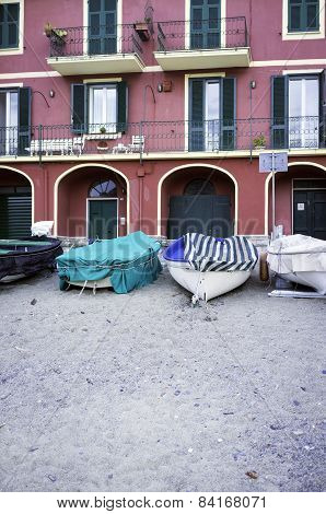 Fisherman Ligurian village, detail. Color image