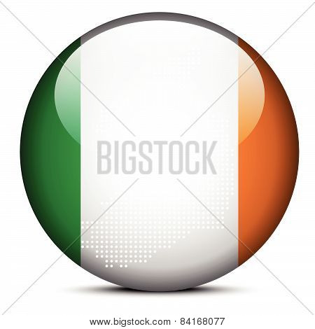 Map With Dot Pattern On Flag Button Of Ireland