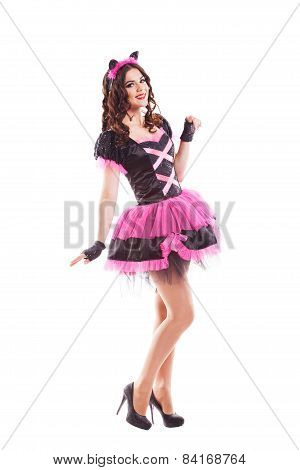 Woman in carnival costume.  kitty ears. Isolated on white background