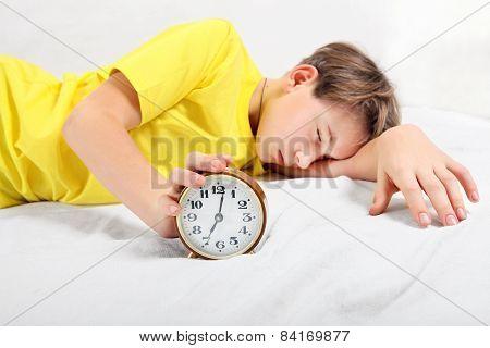 Teenager Sleep With Alarm Clock