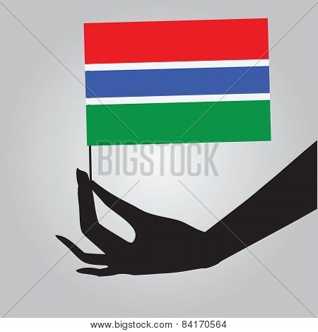 Hand With Gambia Flag