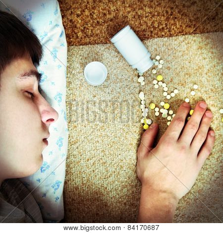 Teenager Sleep Near The Pills