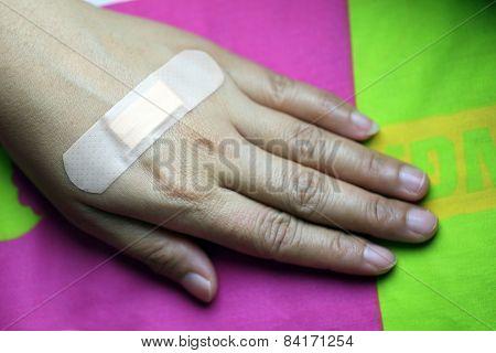 Adhesive Plaster On Skin.