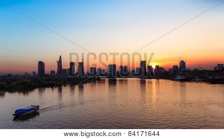 Saigon Skyline at sunset, Vietnam