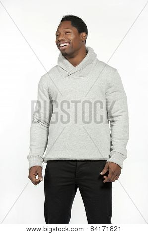 African American Male in Gray Sweater