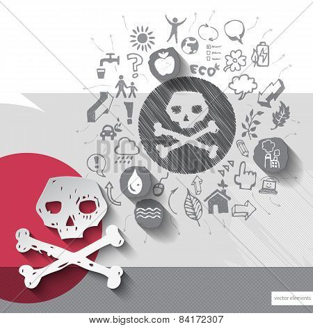 Paper and hand drawn scull emblem with icons background