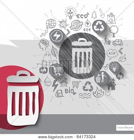 Paper and hand drawn recycle bin emblem with icons background