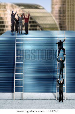 versión de la escalera corporativa - azul