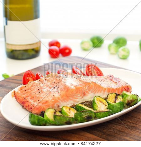 Piece Of Roasted Salmon Fillet With Grilled Vegetables. Square Image.