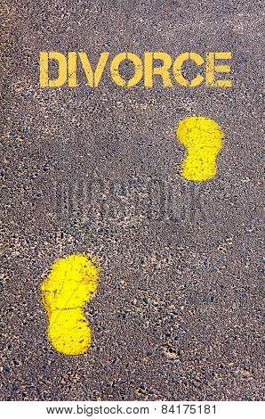 Yellow Footsteps On Sidewalk Towards Divorce  Message