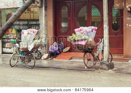 Flower vendors on the street of Hanoi