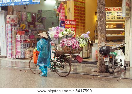 Flower vendor on the streets of Hanoi
