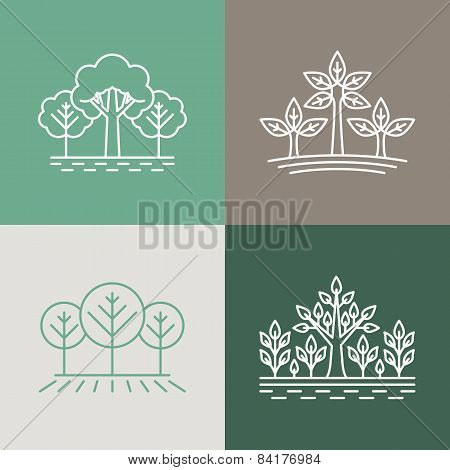 Vector Trees And Parks Logo Design Elements In Linear Style - Abstract Landscapes And Nature Concept