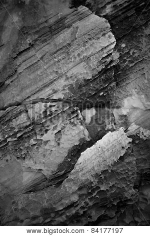 black and white rock texture closeup background
