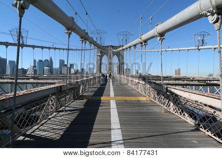 Brooklyn Bridge Over The East River In New York